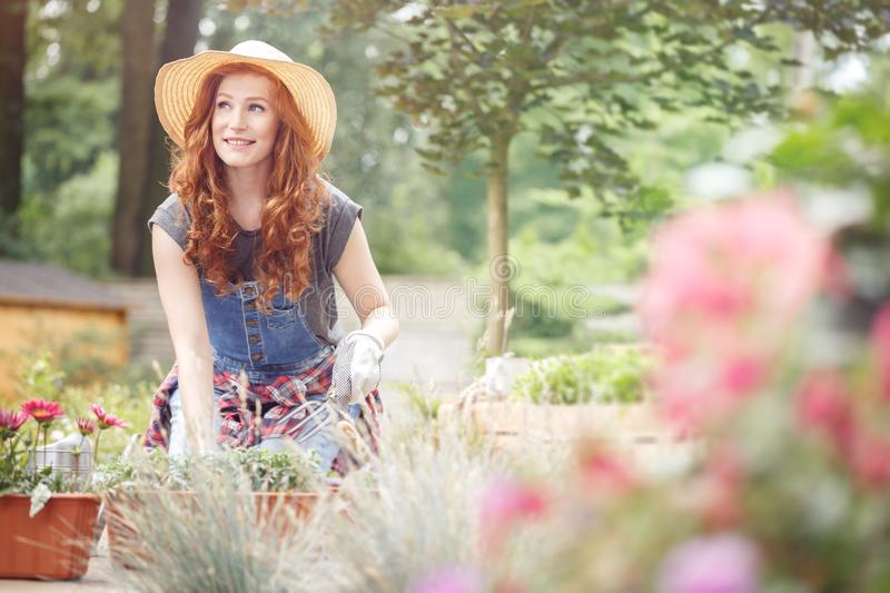 Woman working in straw hat stock photos