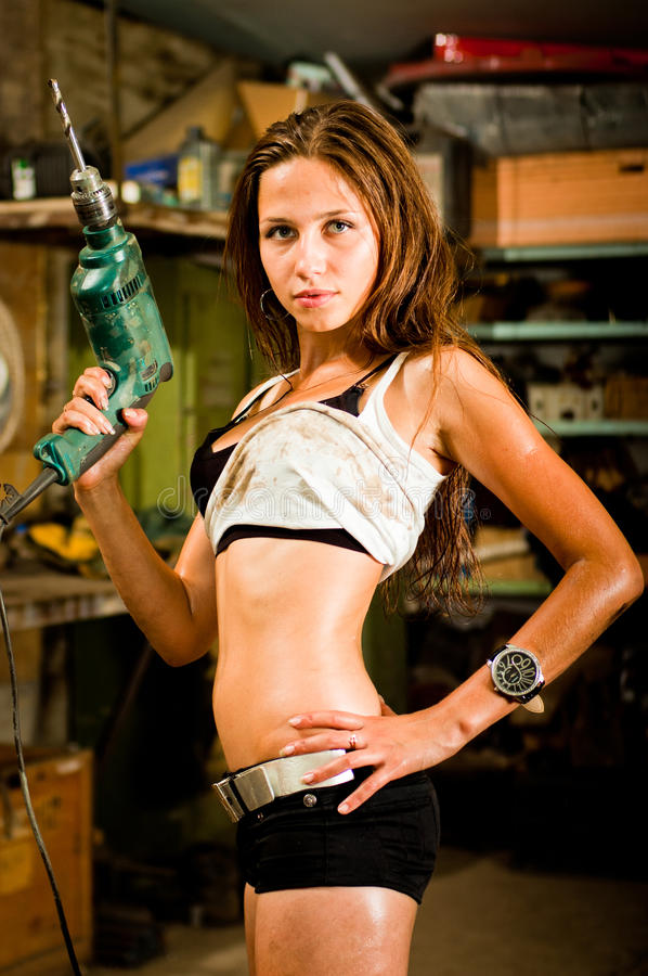 Woman working with tools royalty free stock photography