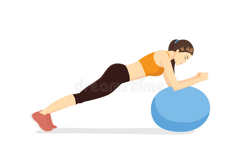 Woman workout with fitness ball in ball table top posture stock illustration
