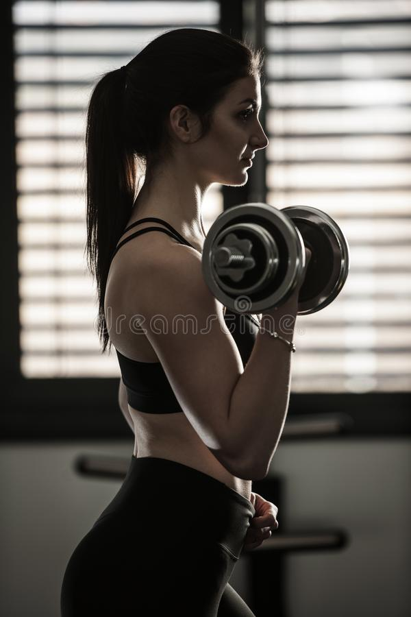 Woman workout in fitness gym with dumbbells royalty free stock photos