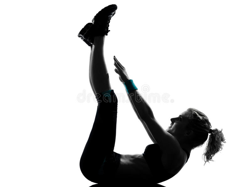 Woman workout fitness posture abdominals push ups stock photo