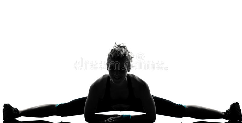 Woman workout fitness stretching splits royalty free stock images