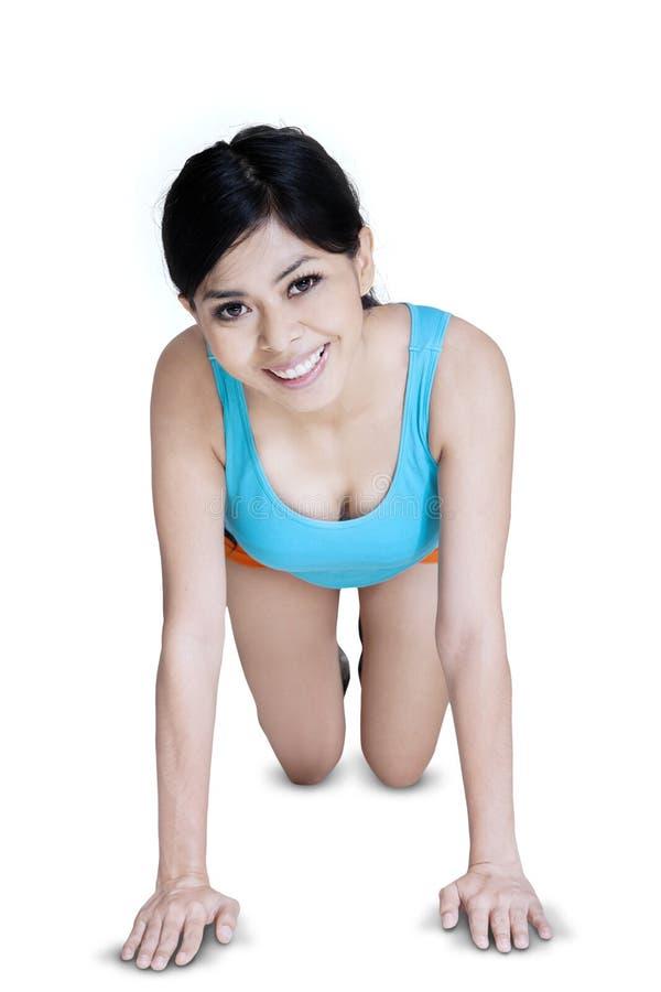 Woman workout isolated on white stock photos