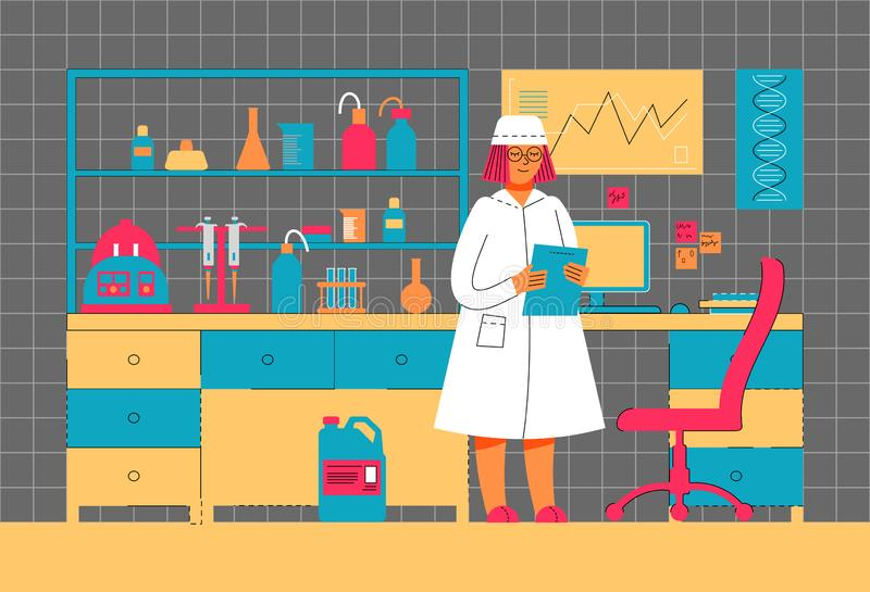 A woman works in a laboratory. Scientific experiment. Scientific work. stock illustration