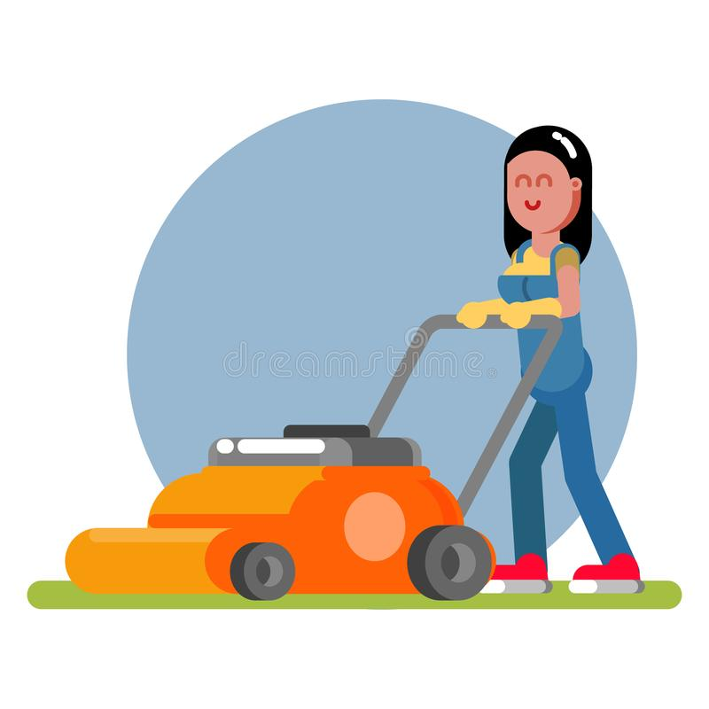 Woman works with a lawn mower. Vector illustration, EPS 10 vector illustration