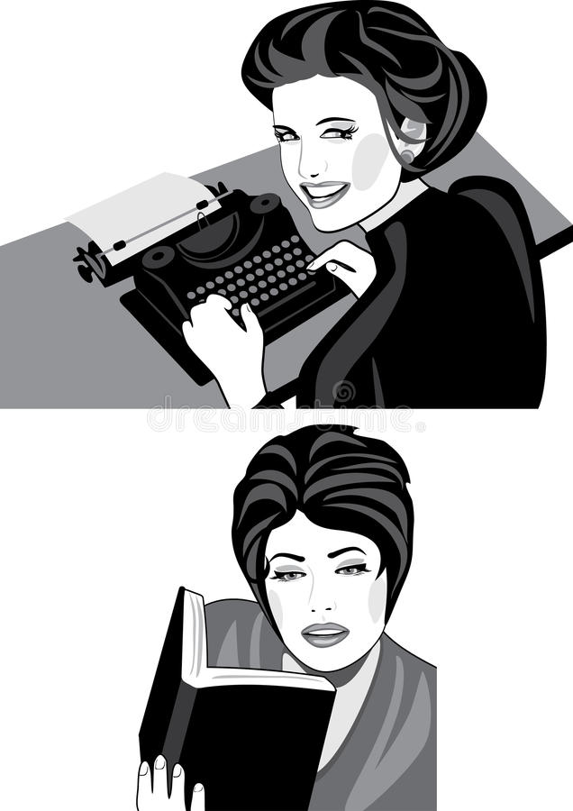 Woman works on a typewriter and reads a book royalty free stock photography
