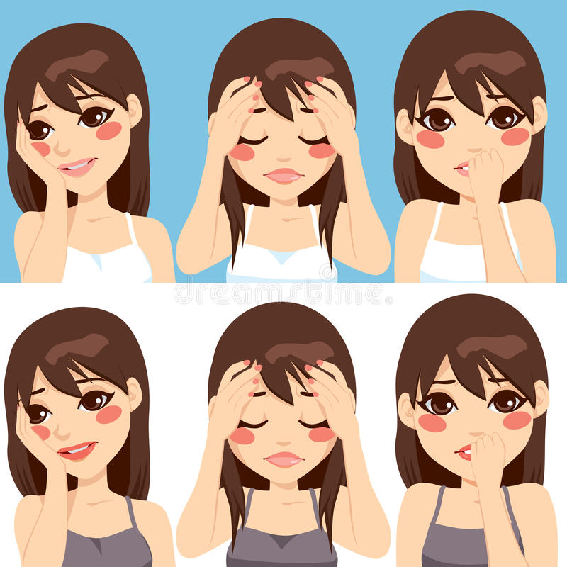 Woman Worried Expressions. Cute brunette woman posing making different worried sad face expressions stock illustration