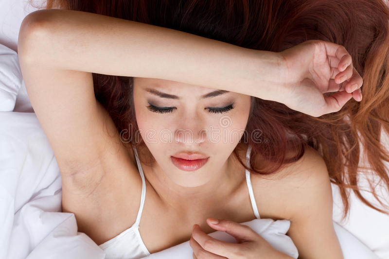 Download Woman With Worry Or Anxiety On Her Bed, Insomnia Or Sleeplessnes Stock Photo - Image: 32439574