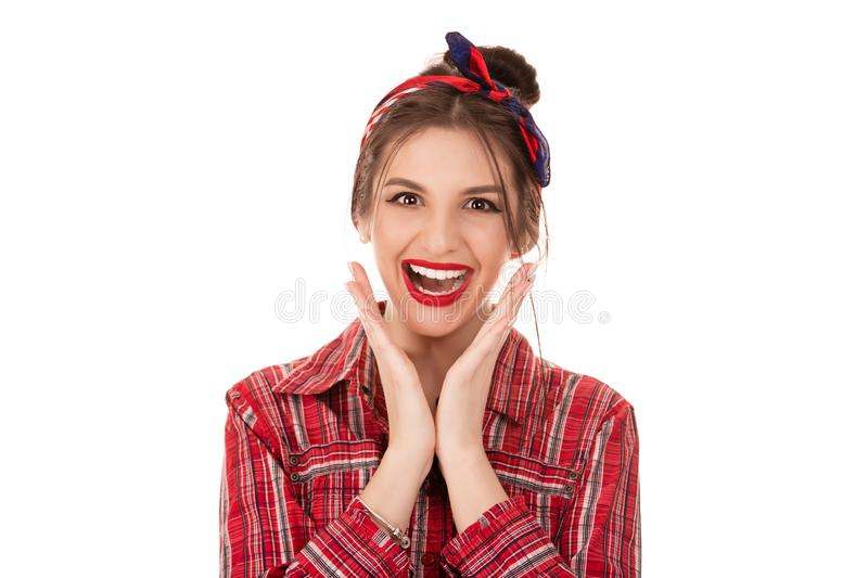 Woman, wow gesture stock photo
