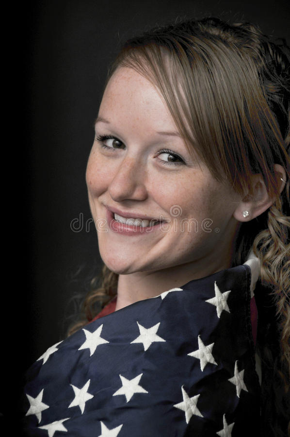 Download Woman Wrapped in a Flag stock photo. Image of skin, portrait - 14384564