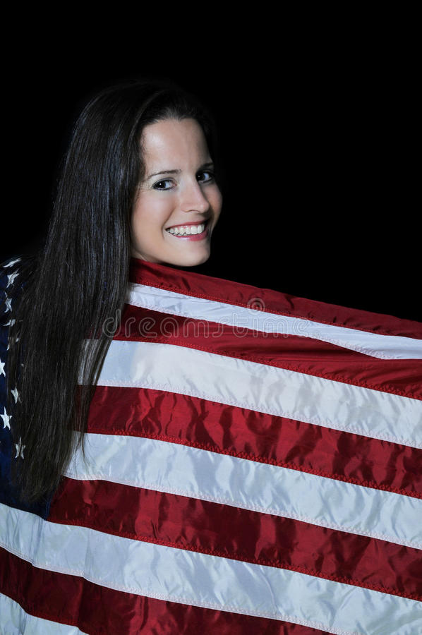 Woman Wrapped In A Flag Stock Photos