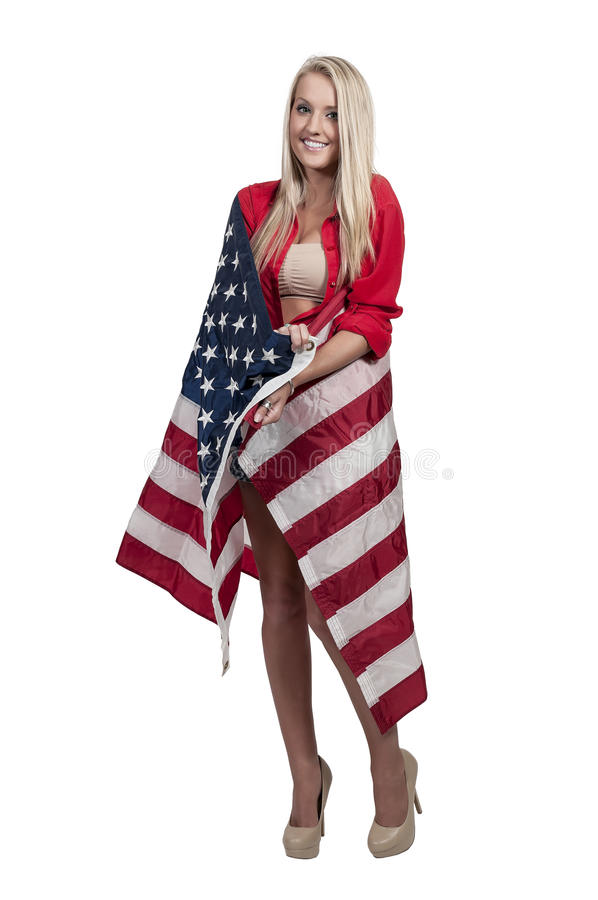 Download Woman Wrapped in a Flag stock photo. Image of fourth - 36262210
