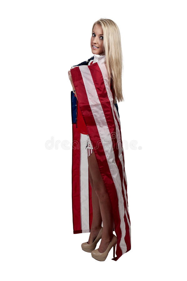 Download Woman Wrapped In A Flag Royalty Free Stock Photography - Image: 36262217
