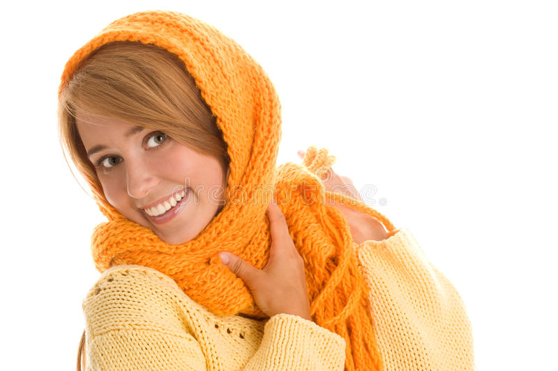 Download Woman wrapped scarf stock photo. Image of happy, caucasian - 18143738