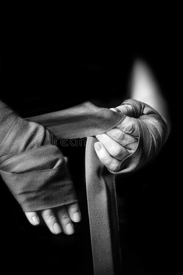 Download Woman wrapping her hands stock image. Image of boxer - 35698223