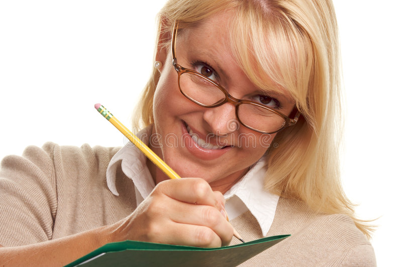 Woman Writes with Pencil on Folder stock photography