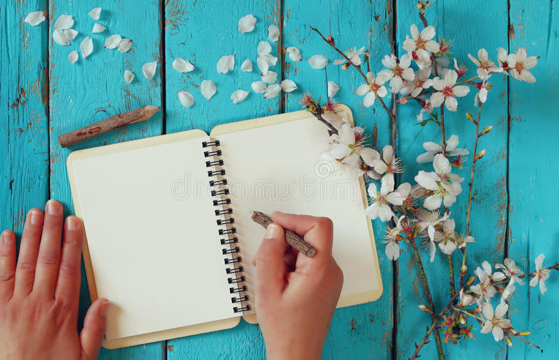 Woman writing on blank notebook next to spring white cherry blossoms tree on vintage wooden table. royalty free stock photo