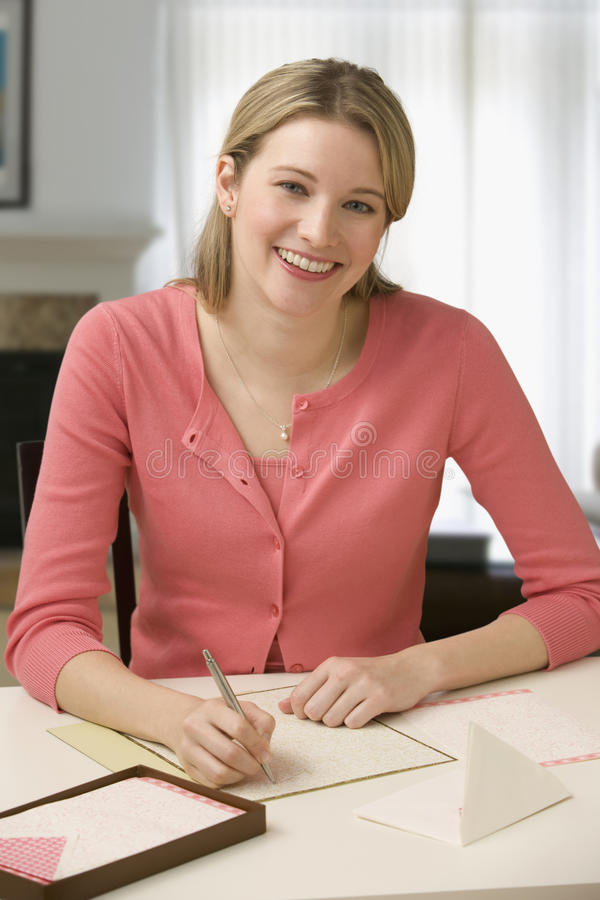 Download Woman Writing Letter stock image. Image of beauty, looking - 14647483