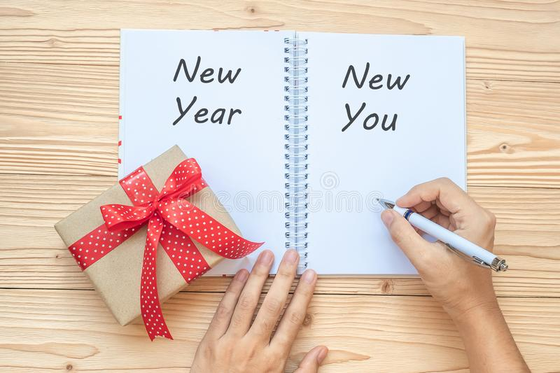 Woman writing 2019 New Year New You word with notebook and Christmas decoration on wooden table, Top view and copy space. Goals, R stock photos
