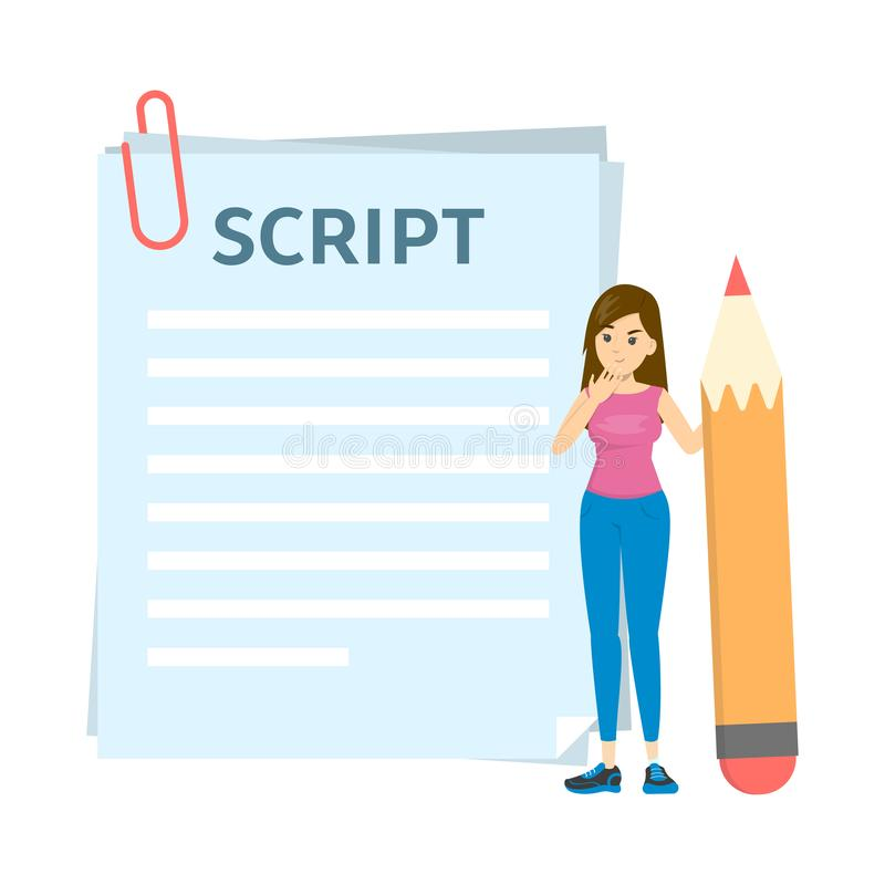 Woman writing script for movie or blog. Girl standing. And holding big pencil. Scenario text on the paper sheet. Film making process. Isolated vector royalty free illustration