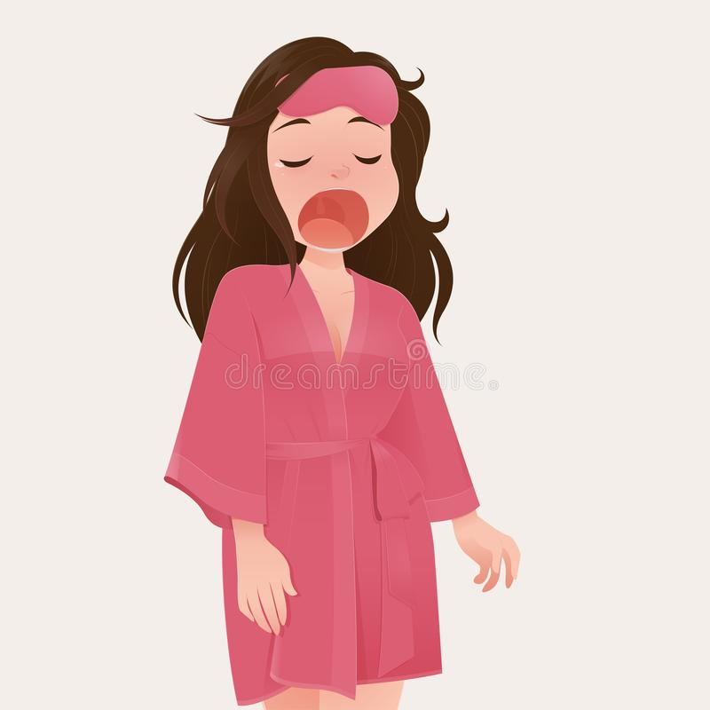 Woman yawning. Illustration woman in pink robe yawning against cream color background, People who wake up late, Cartoon and vector royalty free illustration