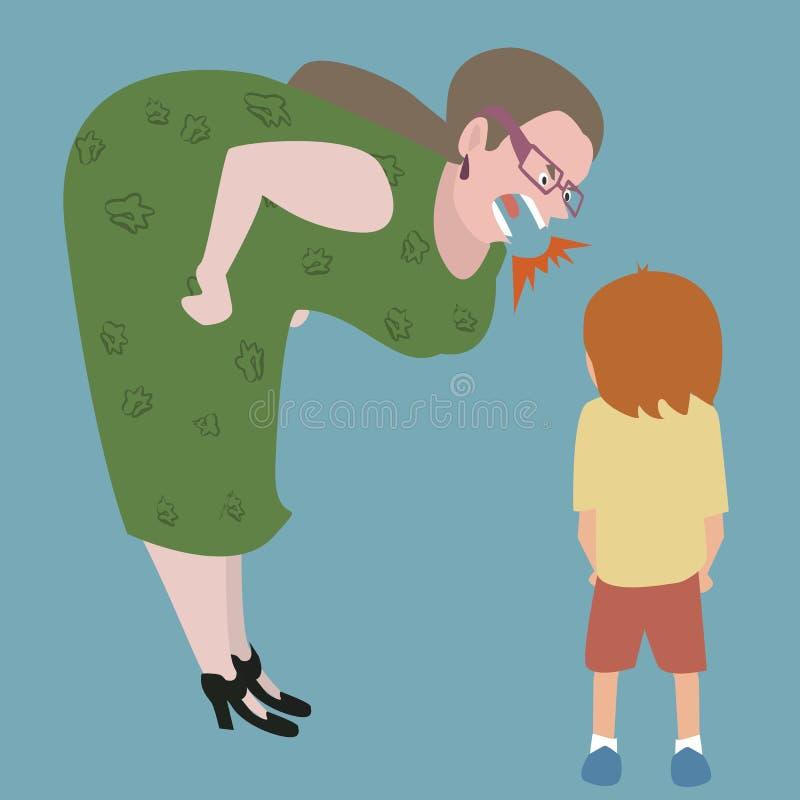 Woman yelling at kid. Funny cartoon image of bad education vector illustration