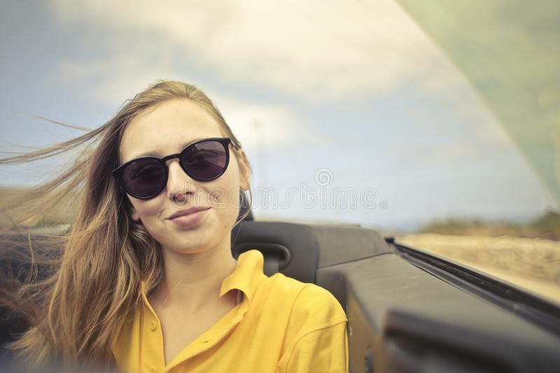 Woman in Yellow Collared Shirt stock photography