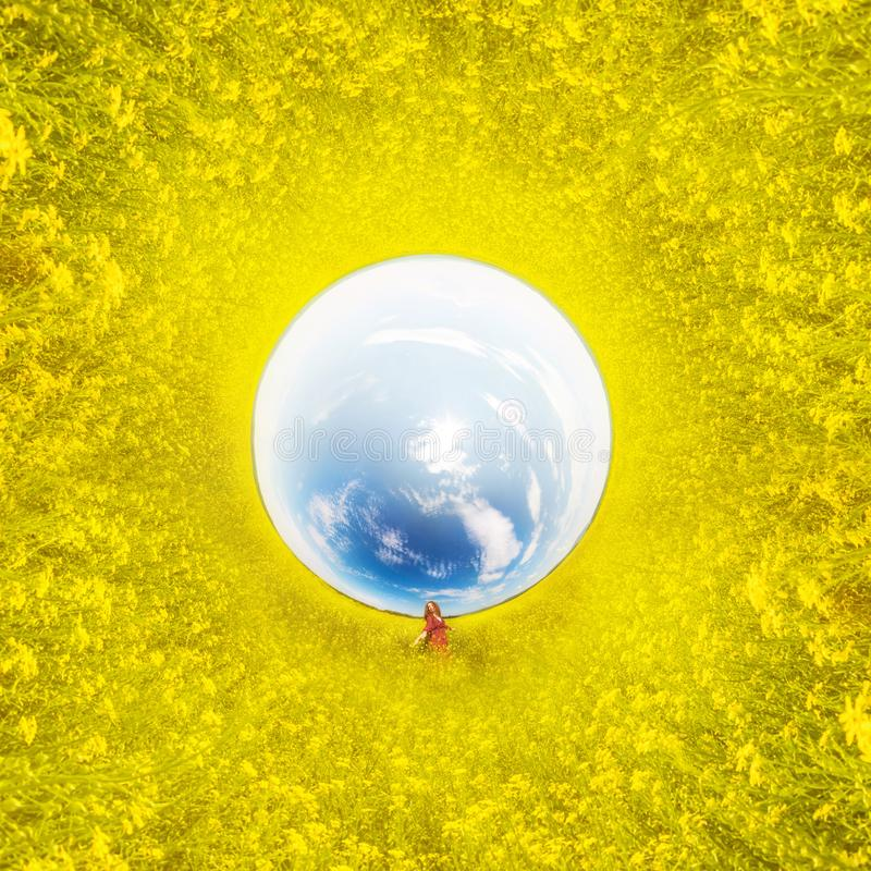Woman in yellow colza field in the morning in the fog at sunrise landscape. . Tiny little planet 360 royalty free stock photography