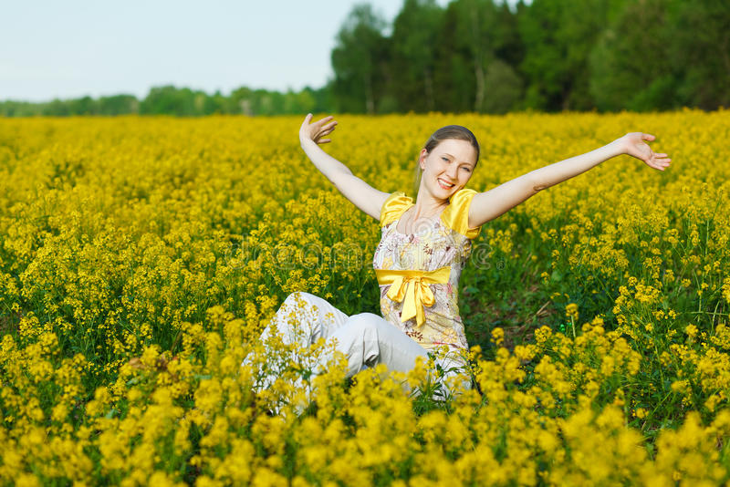 Woman on yellow field