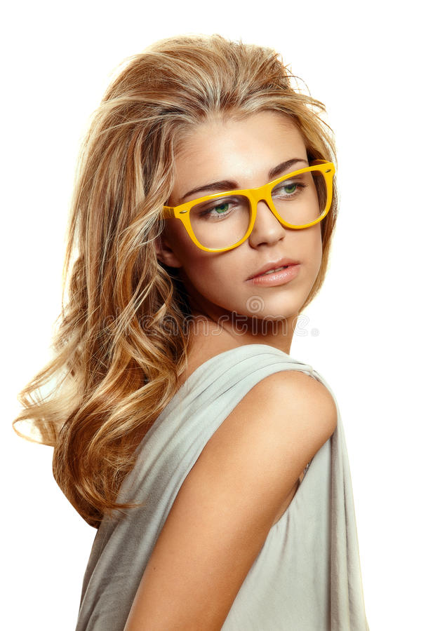 Woman in yellow glasses royalty free stock photos