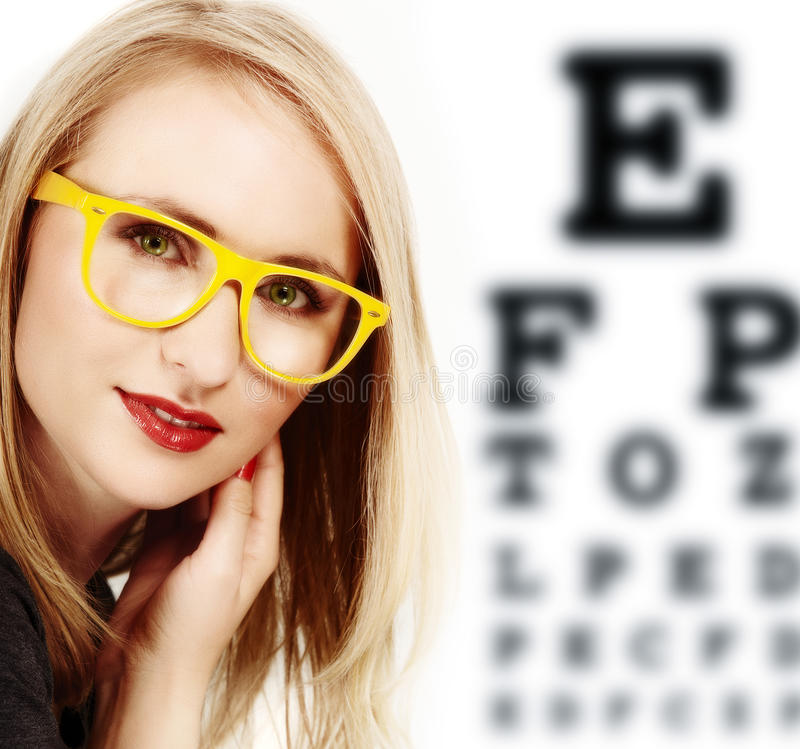 Woman with yellow glasses. stock illustration