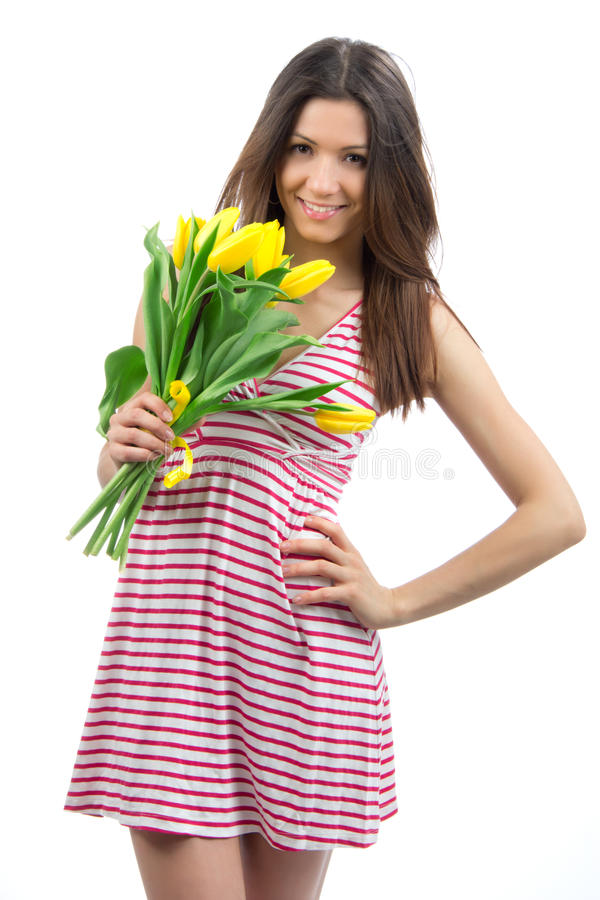 Download Woman With Yellow Tulips Bouquet Stock Image - Image of background, flowers: 24890103