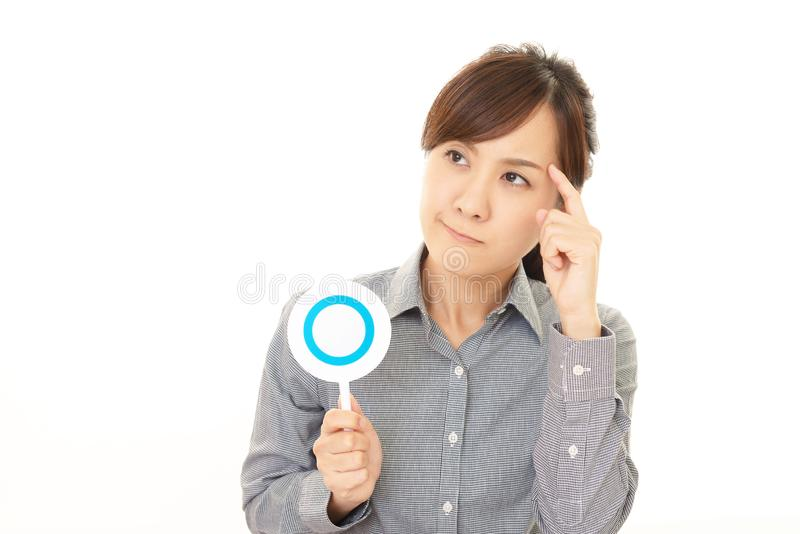 Woman with a Yes sign royalty free stock images