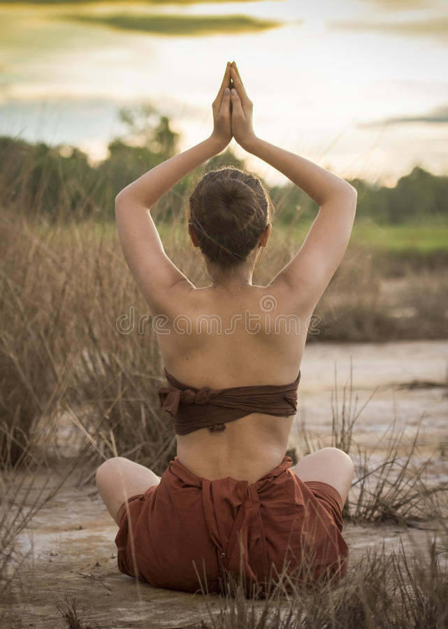 Woman yoga royalty free stock images