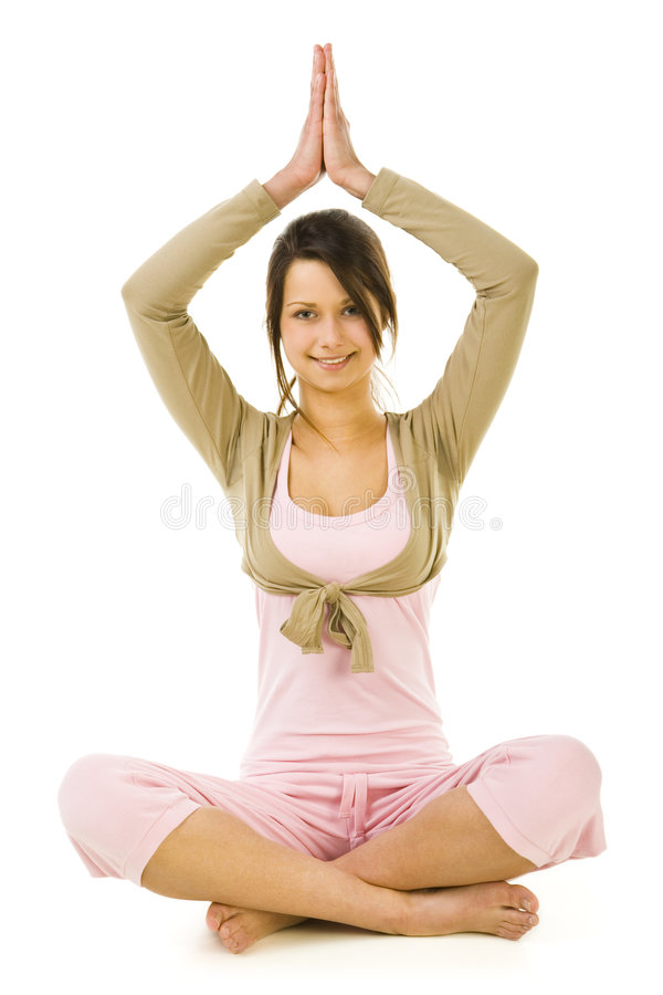 Download Woman during yoga exercise stock image. Image of beautiful - 4860843
