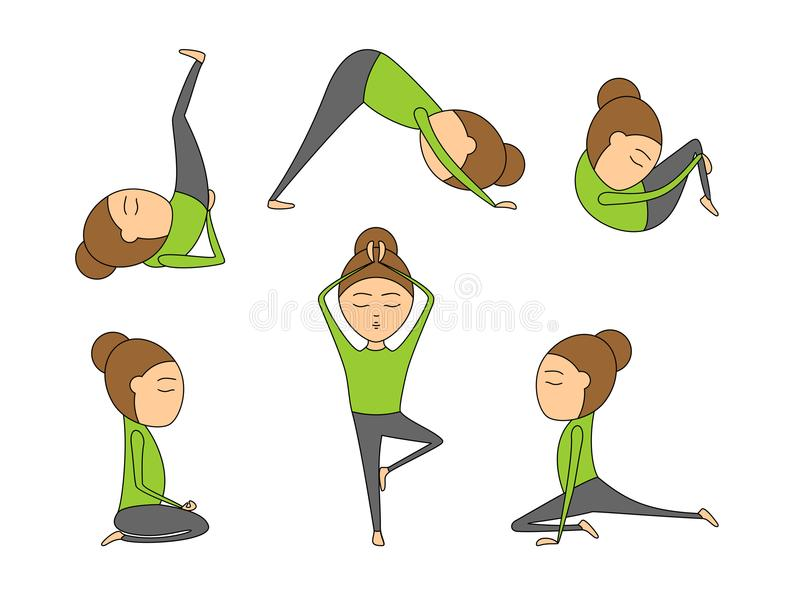 Download Woman Yoga Exercises For Class Or Studio Stock Vector