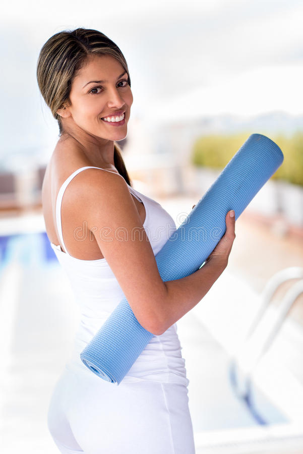Download Woman with a yoga mat stock image. Image of fitness, gorgeous - 31476135
