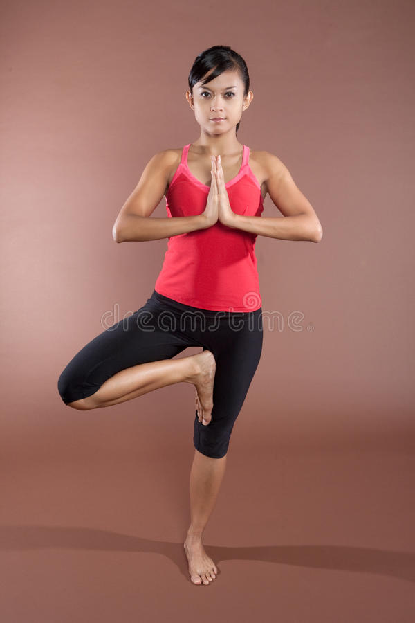 Download Woman in yoga  pose. stock photo. Image of aerobics, expession - 9548500