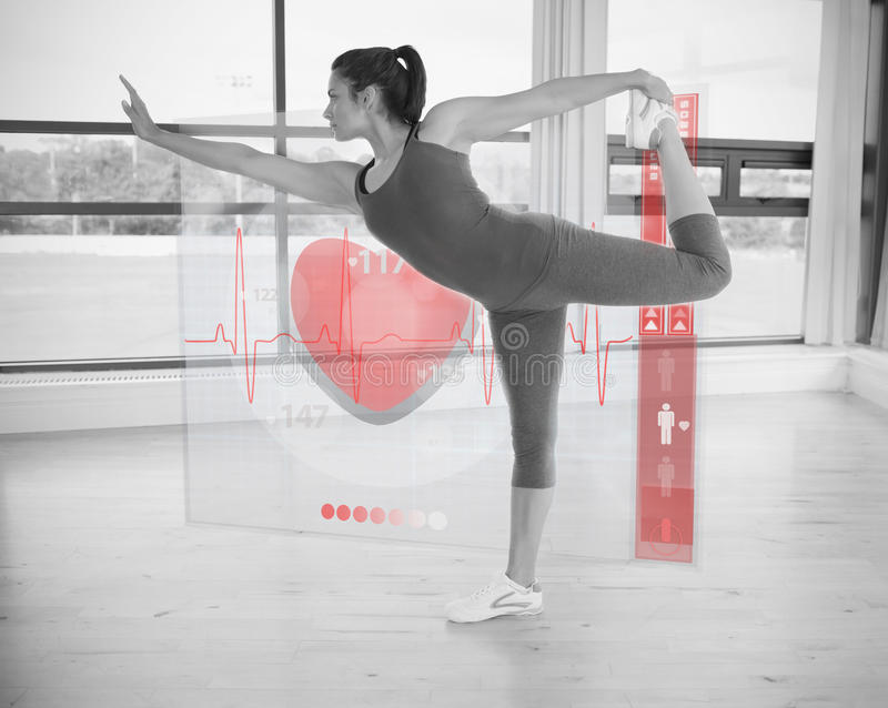 Woman in yoga pose with interface showing her heartbeat. In black and white stock illustration