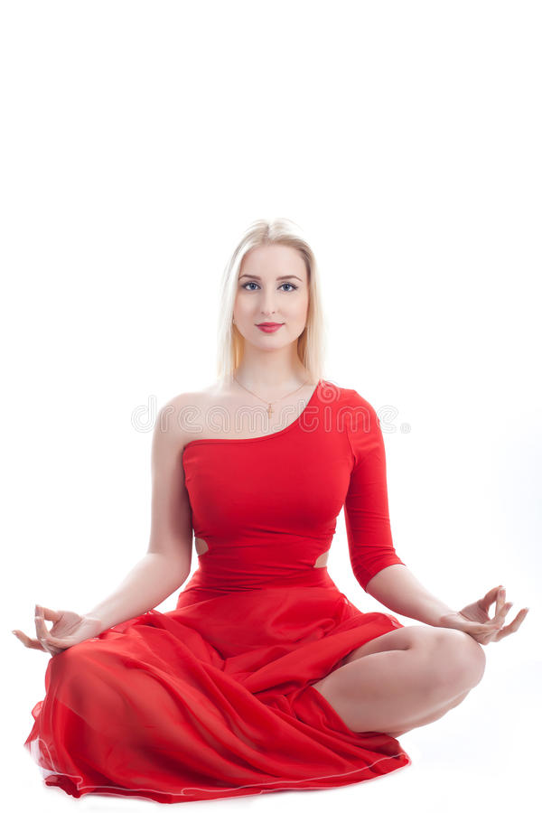 Download Woman In Yoga Pose On A White Stock Photos - Image: 24148163