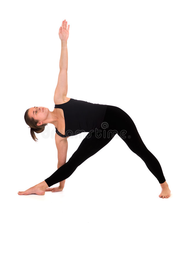Woman in yoga pose on white royalty free stock photography