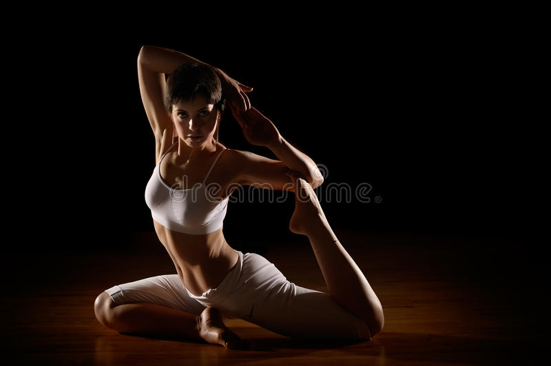 Download Woman in yoga position stock image. Image of pretty, indoors - 18907625
