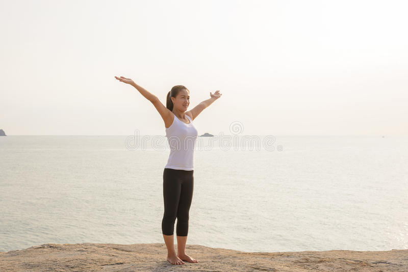 Woman Yoga is relax stock image