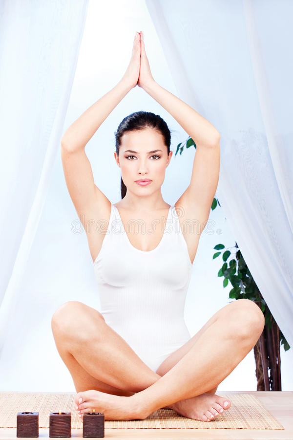 Download Woman At Yoga Relaxation Royalty Free Stock Photography - Image: 23230877
