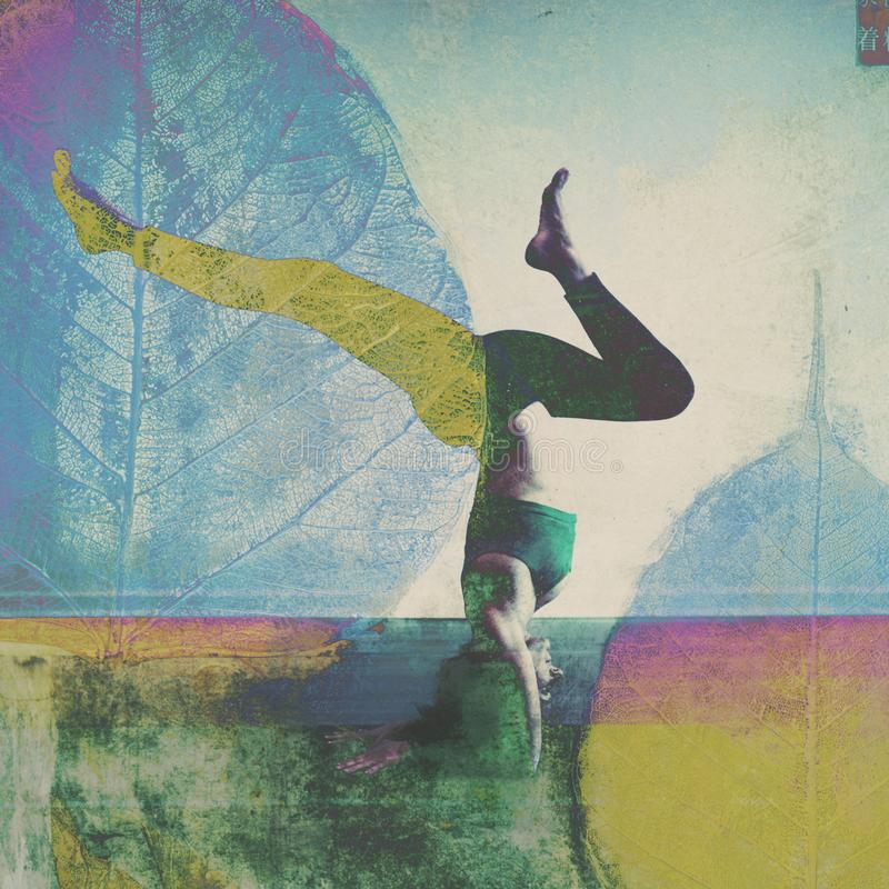 Natural Yoga State Of Mind Woman. Woman in yoga shoulder stand with her legs in an alternative version with overlays of leaves. Photo Illustration photo art with royalty free stock photo