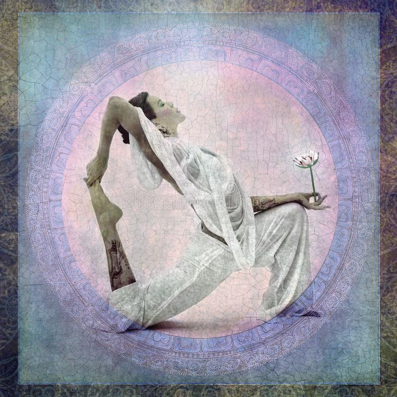 Spiritual Lotus Flower Yoga Woman royalty free illustration