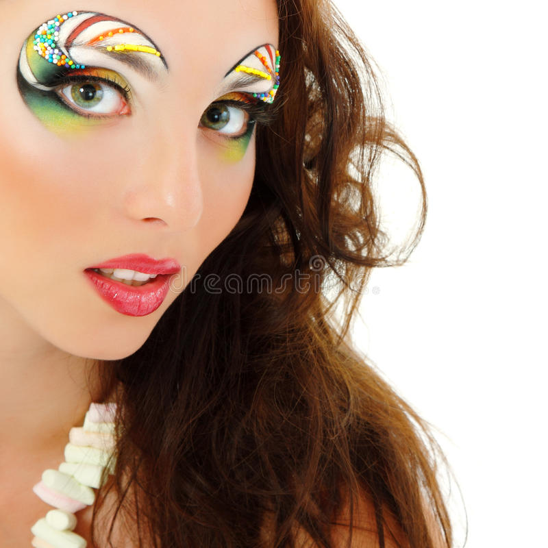 Woman yong beautiful cheerful enjoying with make-up isolated on royalty free stock image
