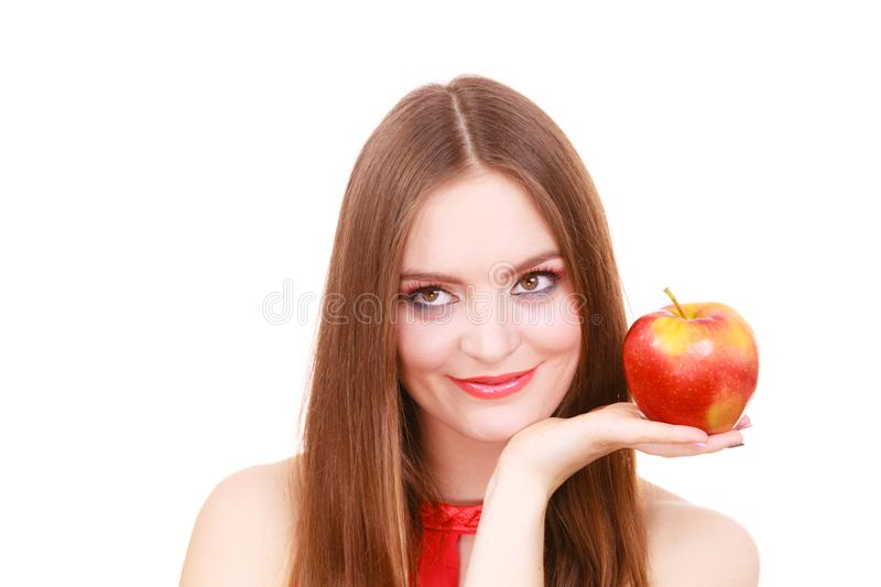 Woman charming girl colorful makeup holds apple fruit royalty free stock photography