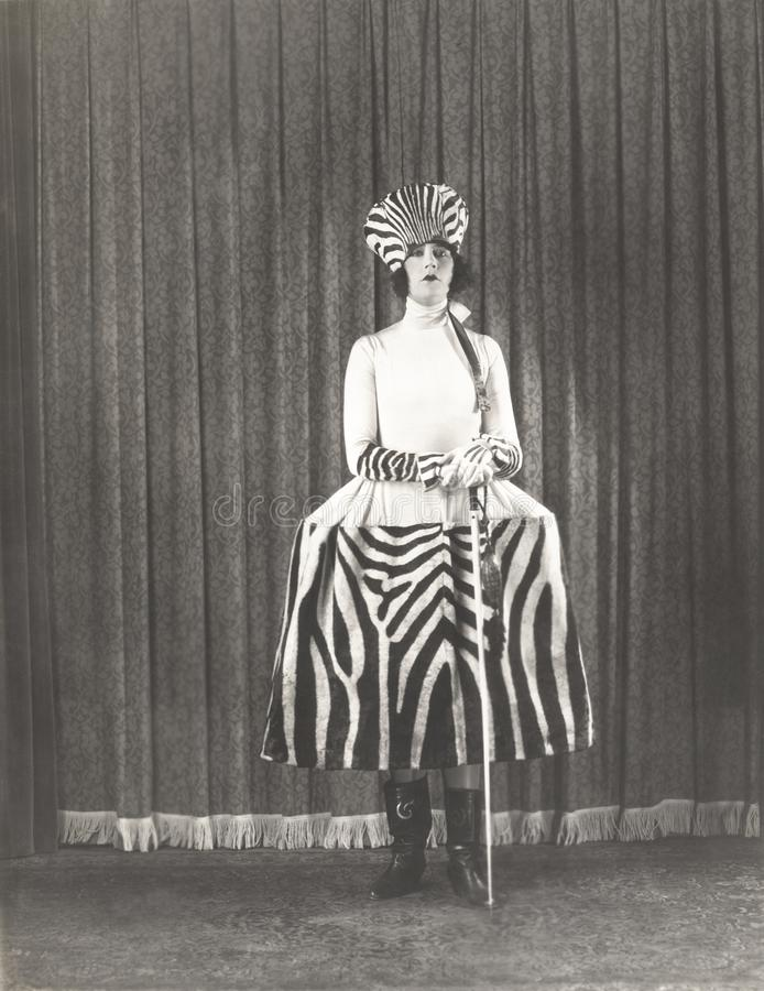 Woman in zebra fashion stock images