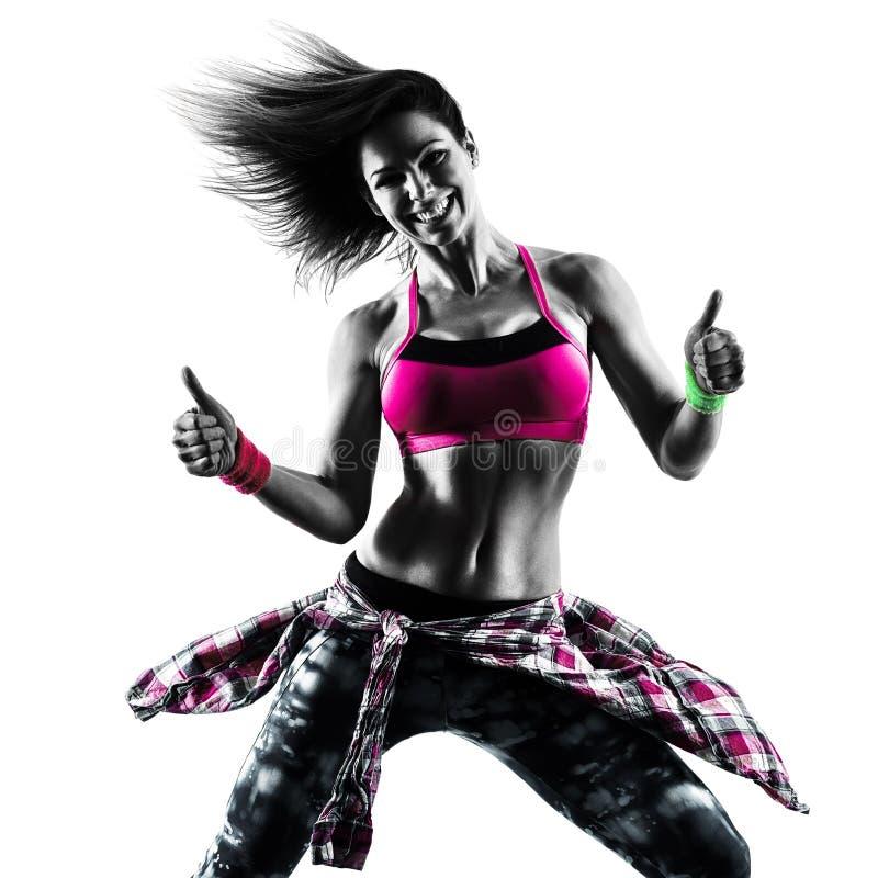 woman zumba fitness exercises dancer dancing isolated
